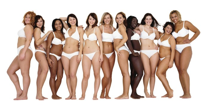 Photos of women in undergarments with different shapes and ethnicities representing Real Beauty for Dove Campaign.