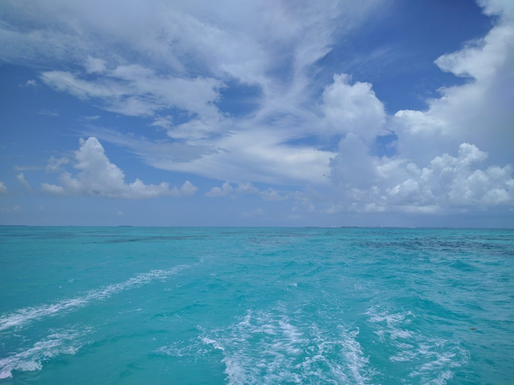 The turquoise green gulf water with soft white waves rolling behind a ship sailing in the Keys