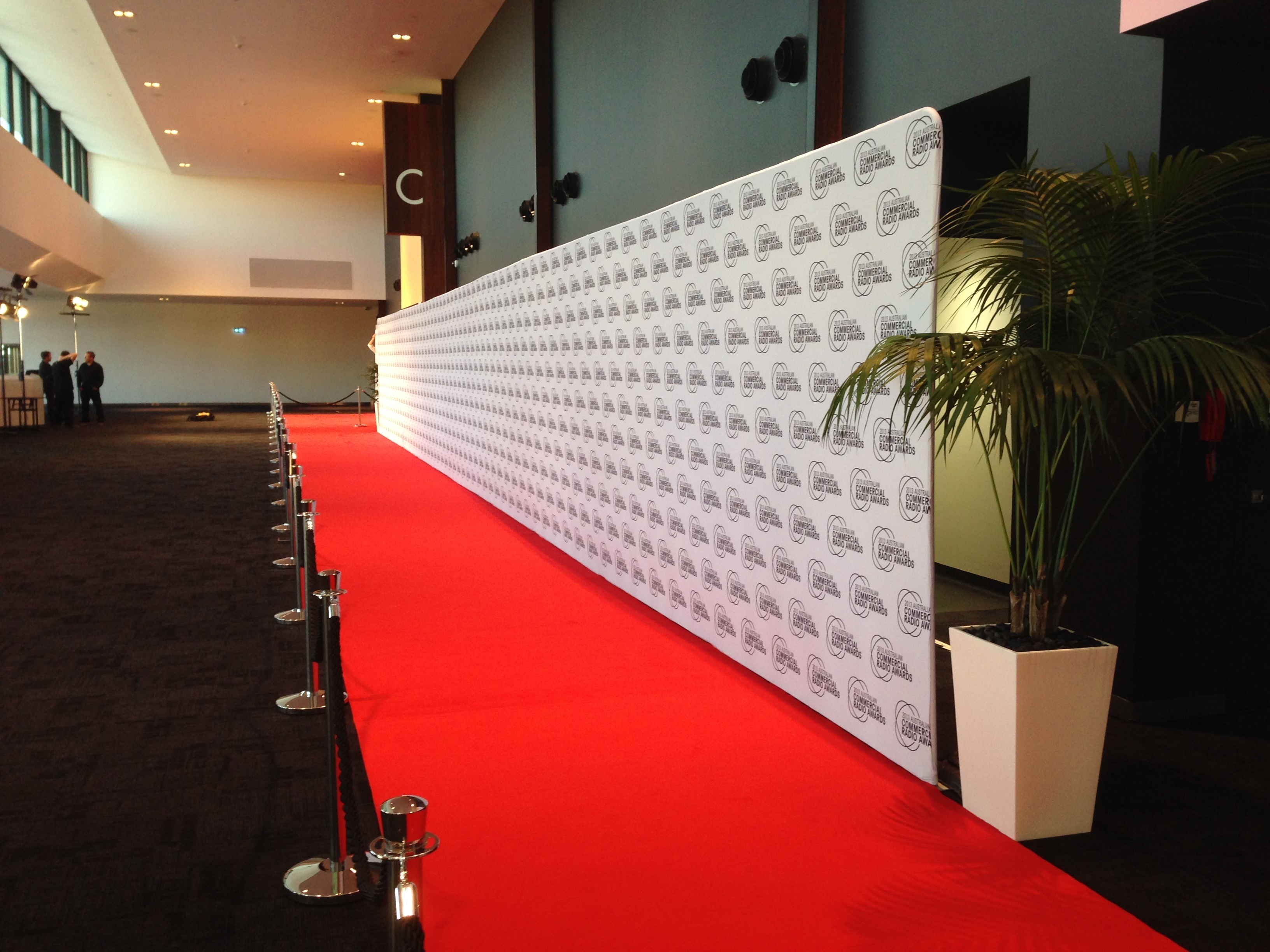 A red carpet lies in front of a white wall with a green palm tree to the right. It means arrive, which is part of the cooldeb blog post called my 3 words for 2018.