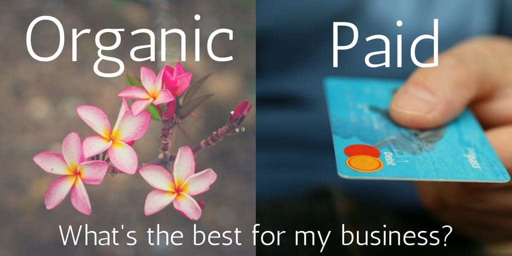 A split photo with the words organic and paid to represent promotional channels to support content marketing.