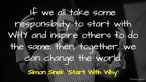 author simon sinek stands in the background with a quote about inspiration and talking about your why in life for effective storytelling