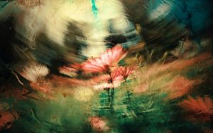 a single red daisy is turned to the side in a watercolor and photo image planted in green grass againsts a blurred image of a meadow showing which can mean mental clarity
