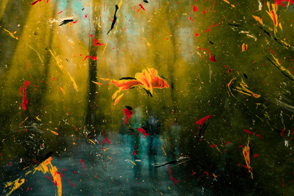 a view of the woods with blurred green spaces for trees with a blue stream. Yellow and red splotches look like flowers falling from the sky to represent mental clarity