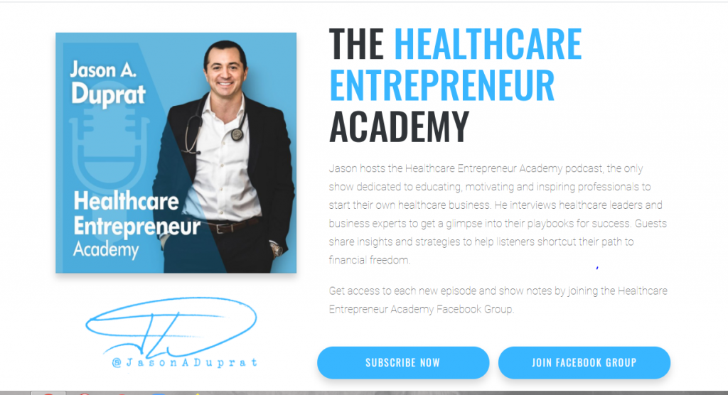 a man stands with a stethascope around his neck to demonstrate his podcast on healthcare entrepreneurship